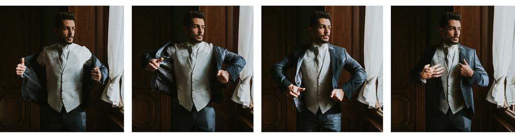 lo sposo indossa la giacca per il destination wedding