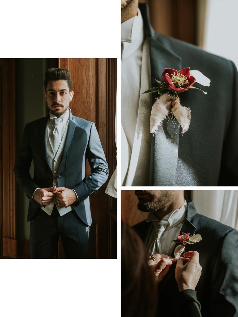 dettagli del vestito dello sposo destination wedding a roma