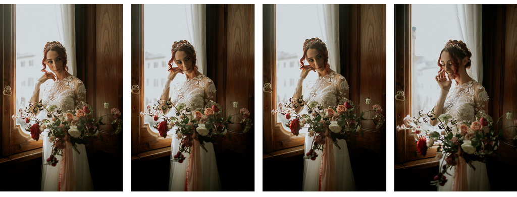 la sposa sorridente col suo bouquet