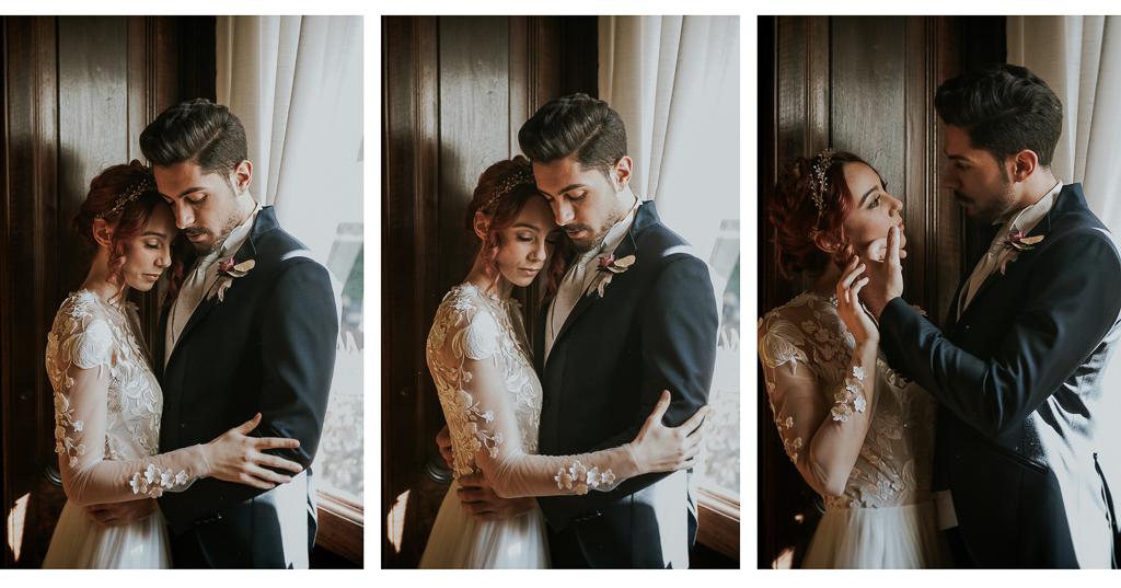 abbracci e carezze degli sposi