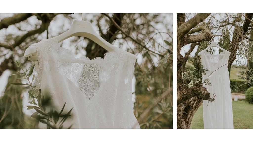 dettagli del vestito della sposa in giardino