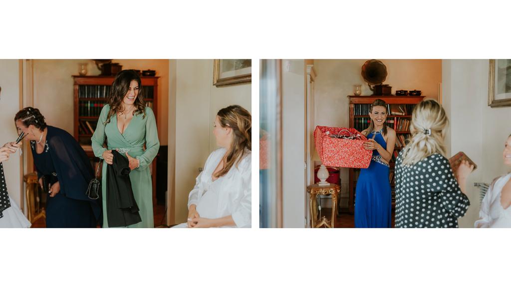 gli ospiti salutano la sposa che si sta preparando