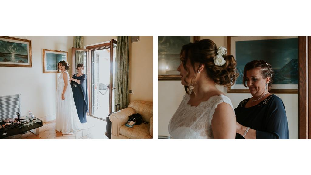 mamma aiuta la sposa col vestito
