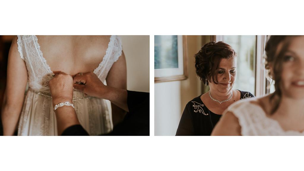 la mamma chiude il vestito della sposa
