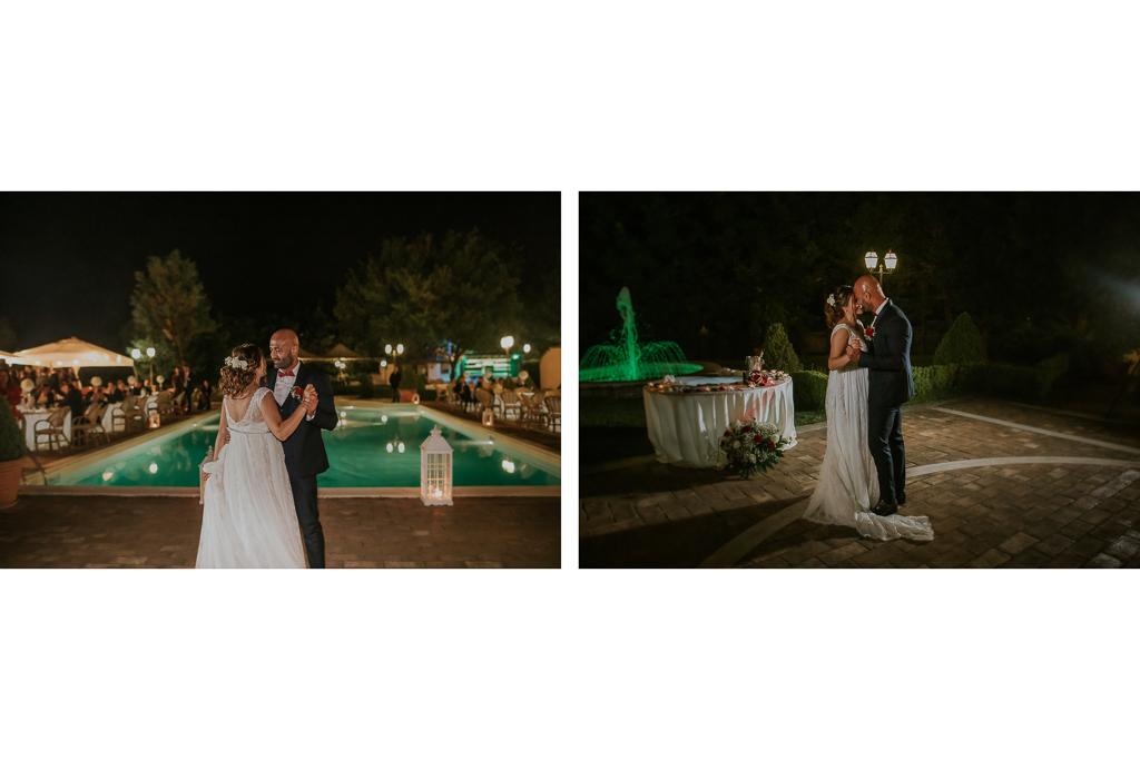 ballo sposi del matrimonio serale in tenuta ceccucci roma