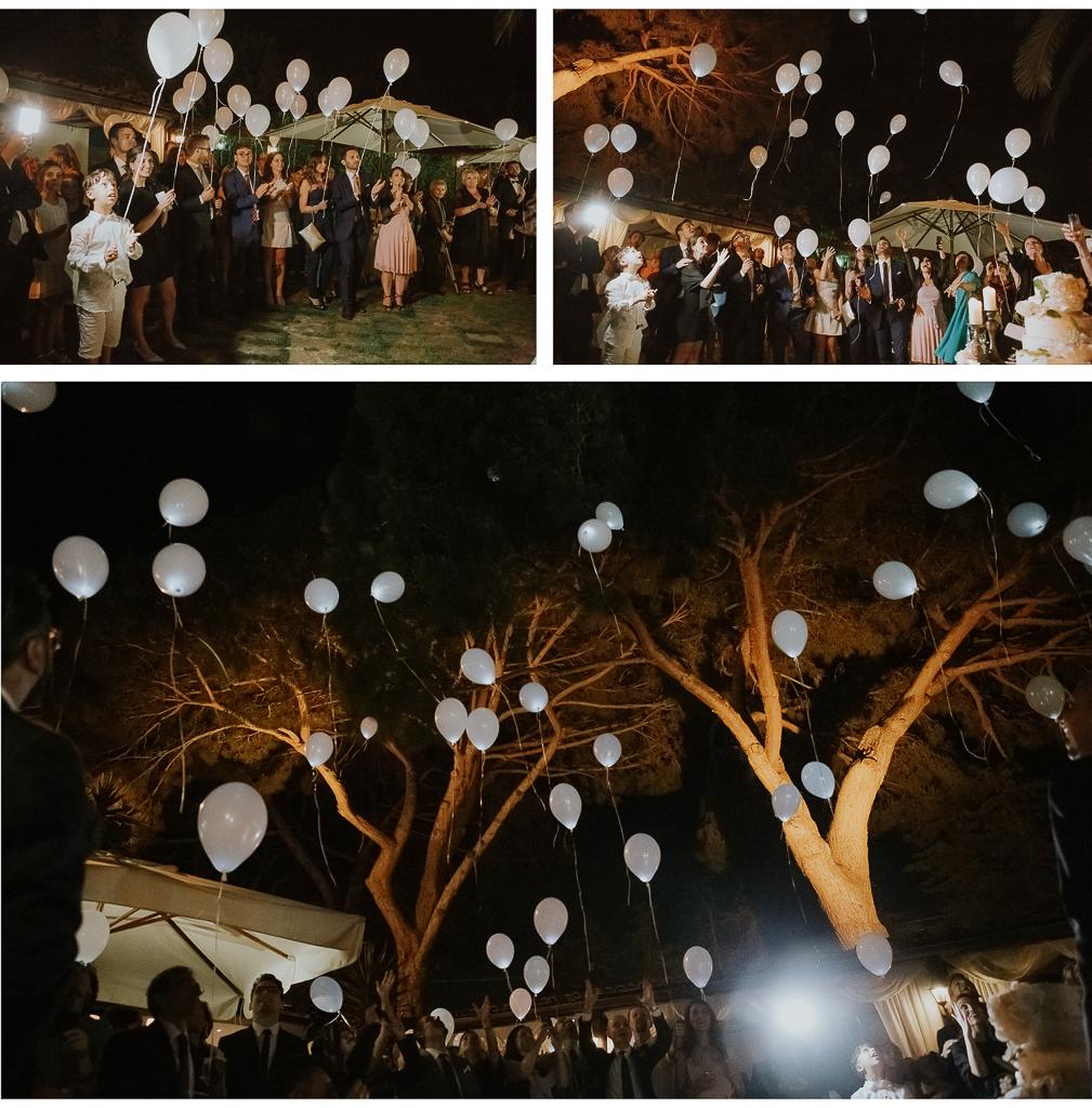 lancio palloncini led al ricevimento serale