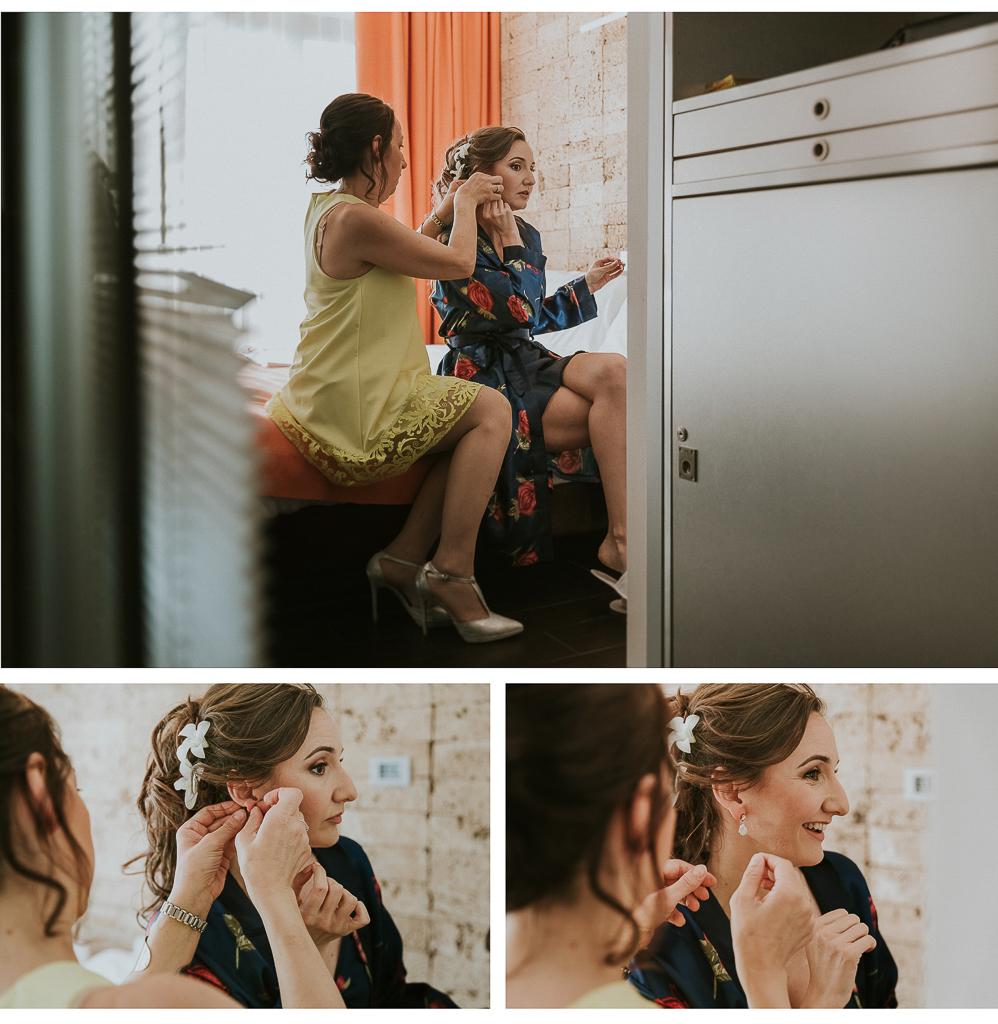 la sorella aiuta la sposa