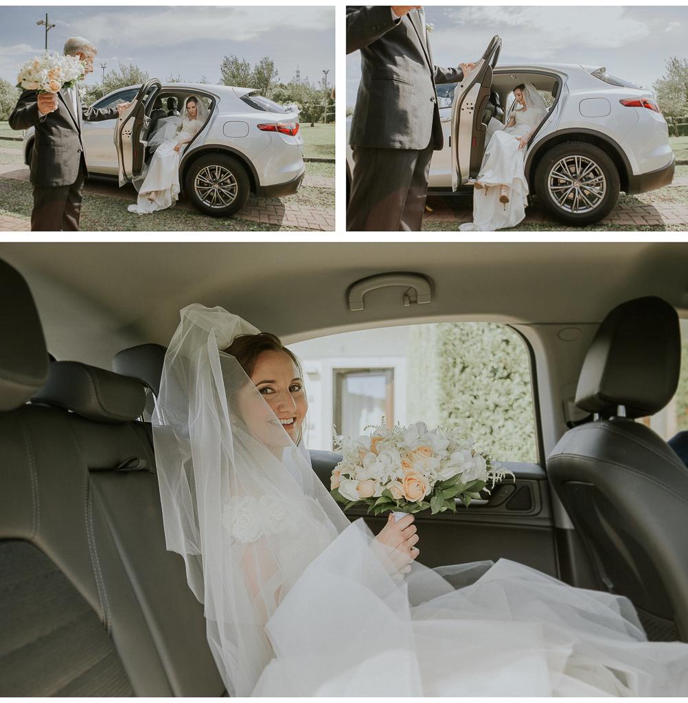 la sposa sale in macchina per andare in chiesa