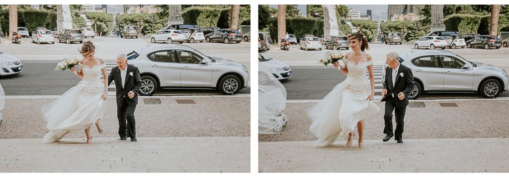 la sposa è arrivata in chiesa per celebrare il suo matrimonio a roma