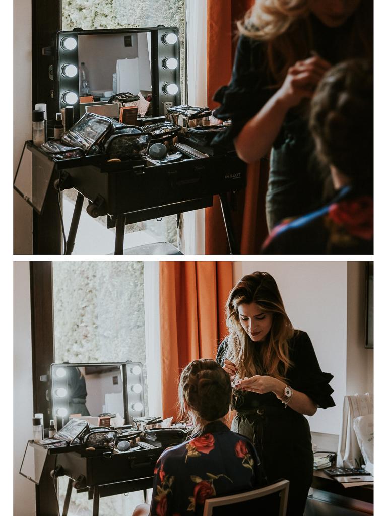 la sposa si prepara al trucco per il matrimonio a roma
