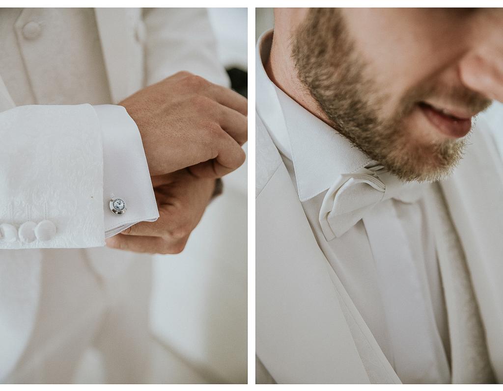 dettagli sposo in bianco