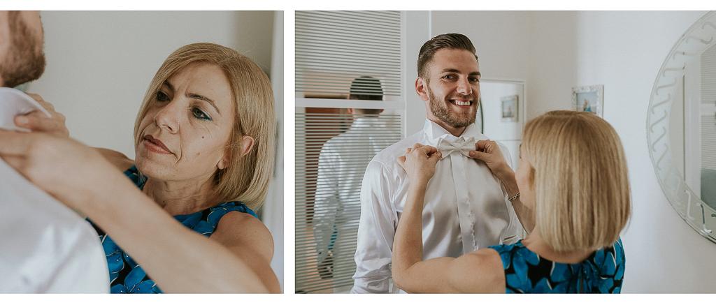 la mamma aiuta lo sposo