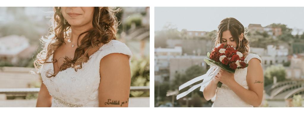 dettagli della sposa col bouquet al tramonto