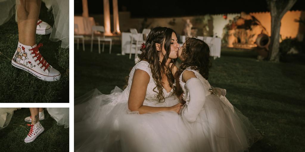 la sposa e sua figlia nel giardino di Villa Desirèe a Roma