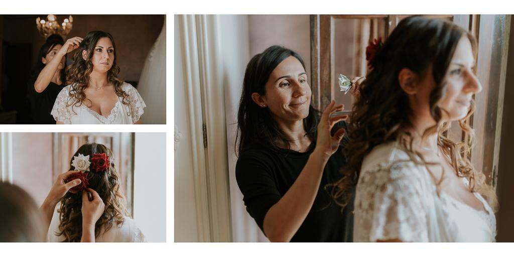 la sposa prepara l'acconciatura