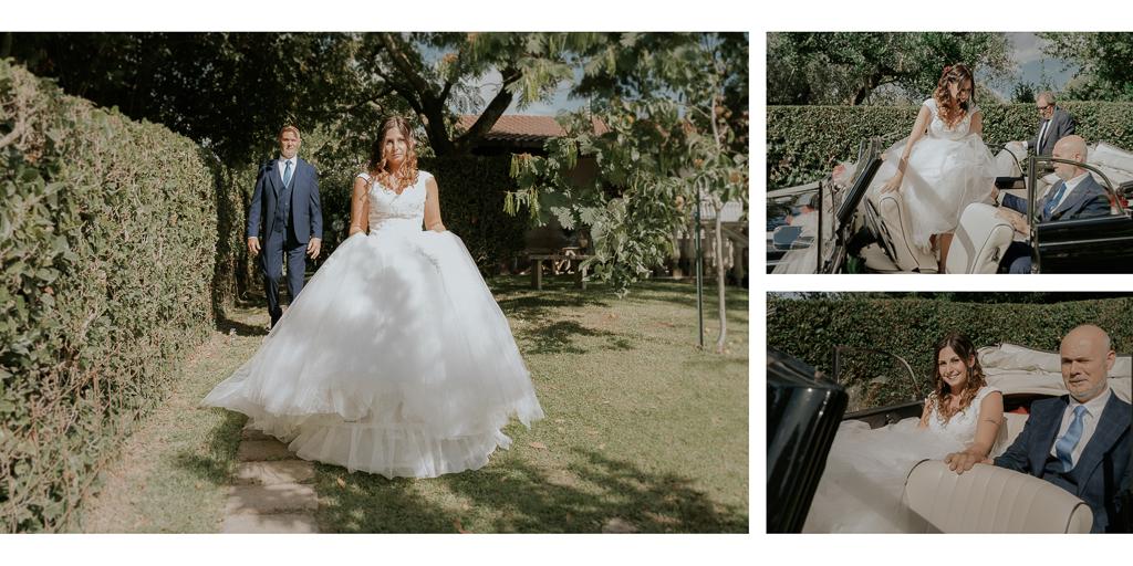 la sposa sale in macchina con il papà