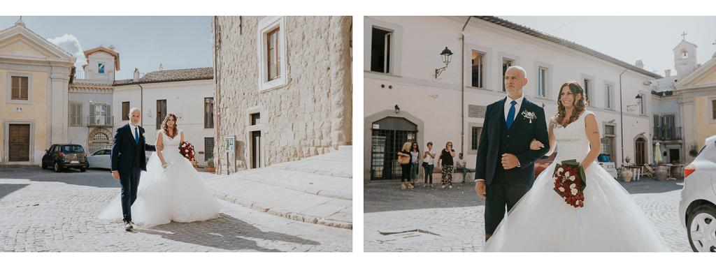 la sposa con il papà arrivano in chiesa San Lorenzo Martire a formello