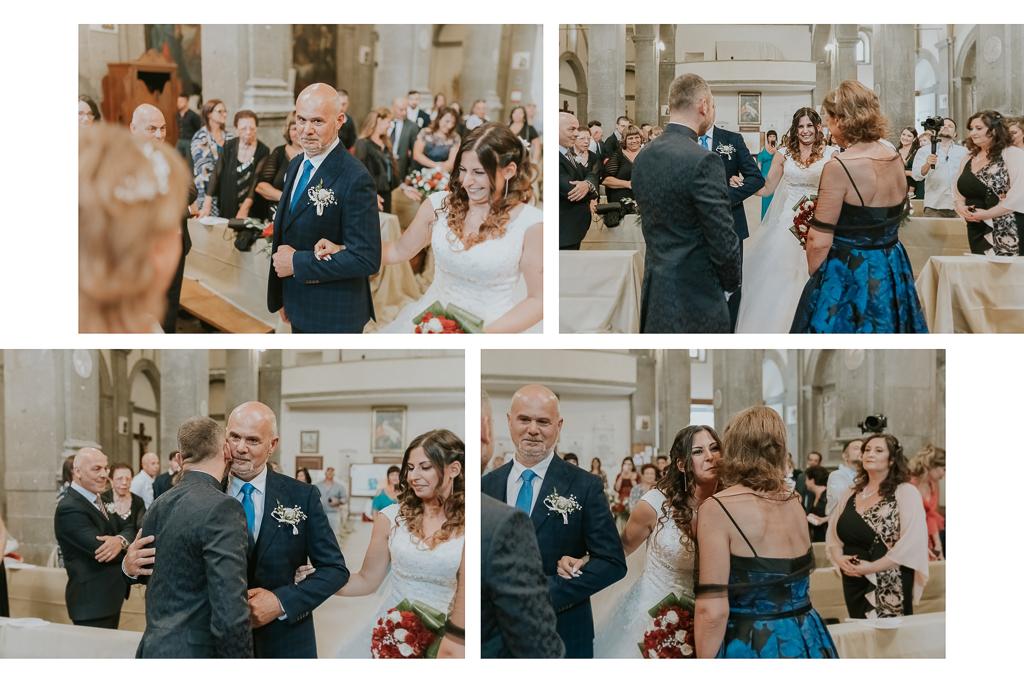 la sposa arriva accompagnata dal padre