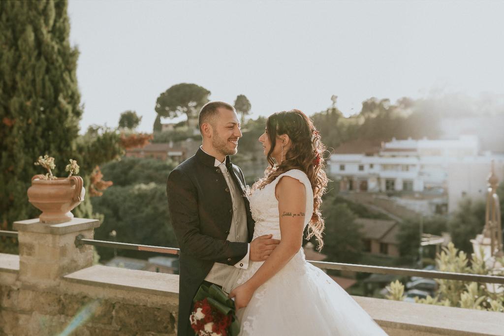 foto di matrimonio al tramonto