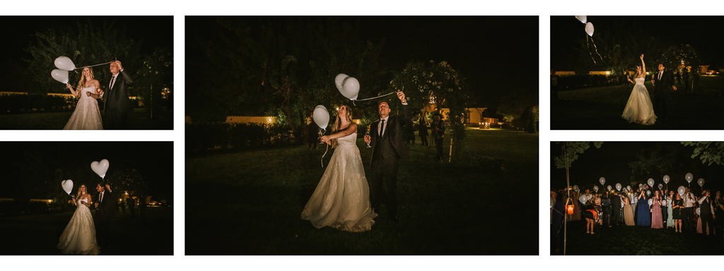 lancio palloncini led matrimonio serale