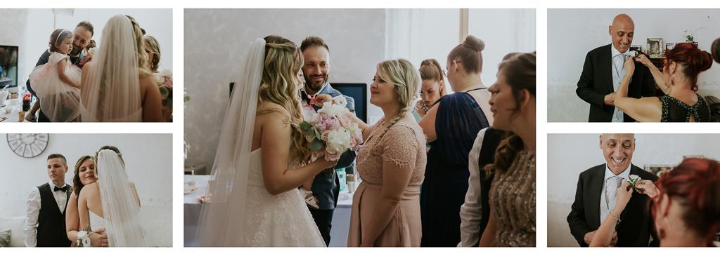 parenti salutano la sposa