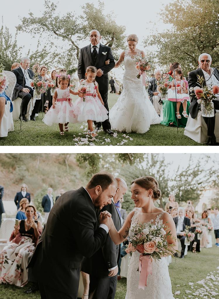 ingresso della sposa con damigelle