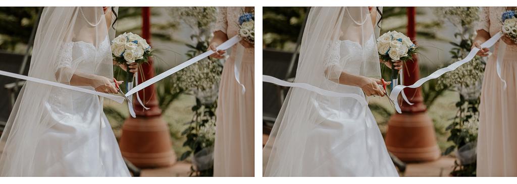 la sposa effettua taglio del nastro