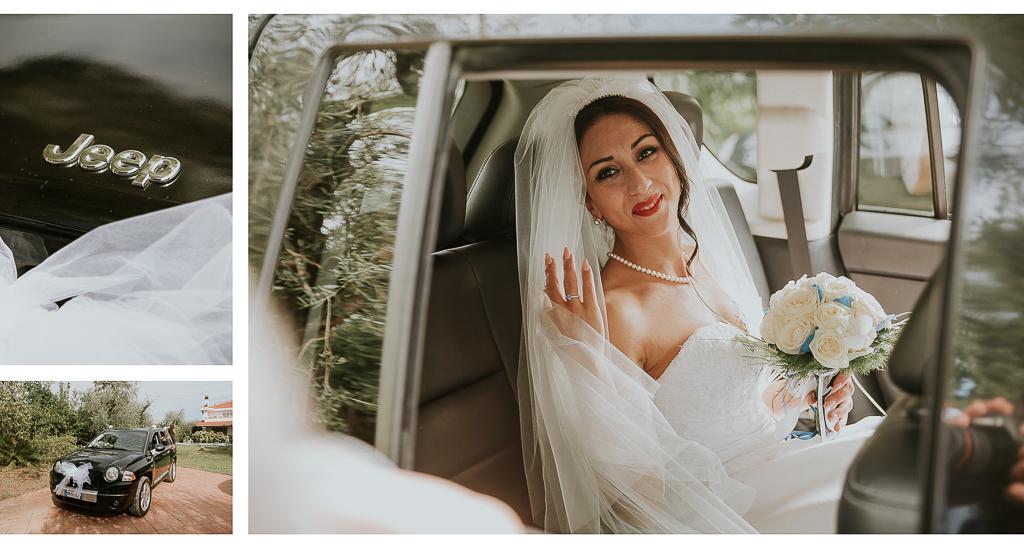 la sposa entra in auto