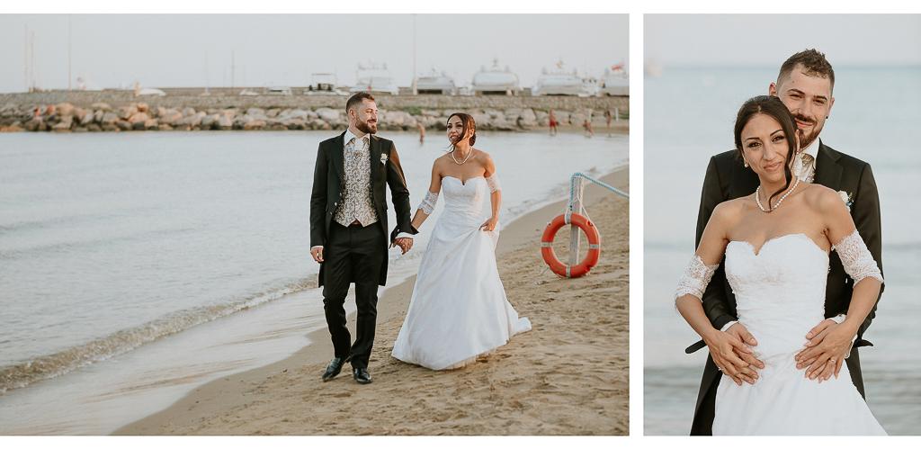 passeggiata sposi sulla spiaggia