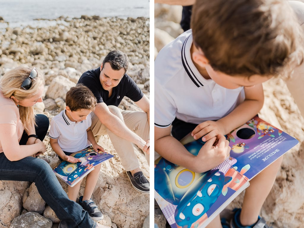 foto di famiglia al mare