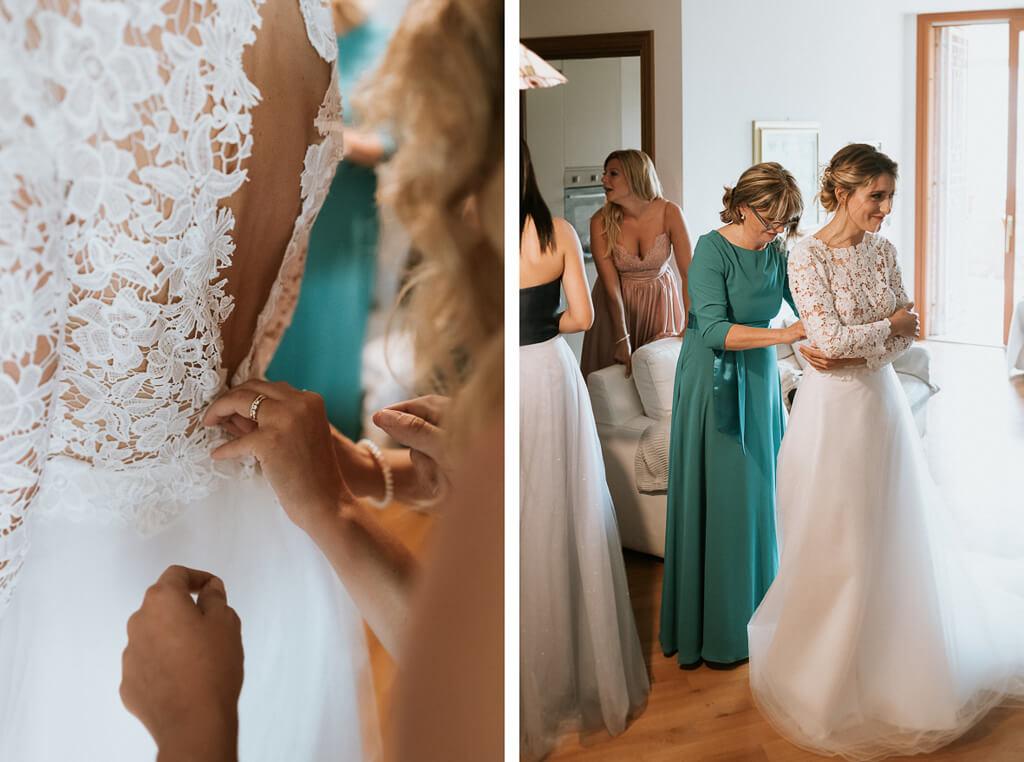 la sposa indossa il suo abito