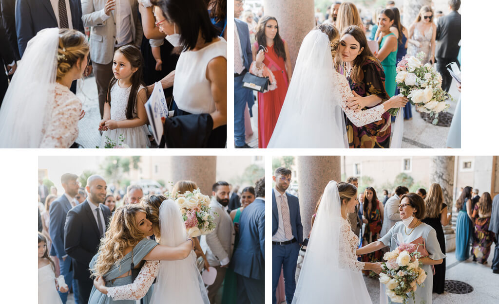 gli ospiti abbracciano gli sposi